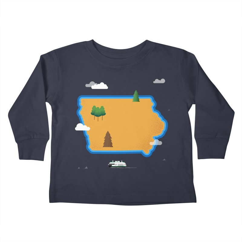 Iowa Island Kids Toddler Longsleeve T-Shirt by Illustrations by Phil