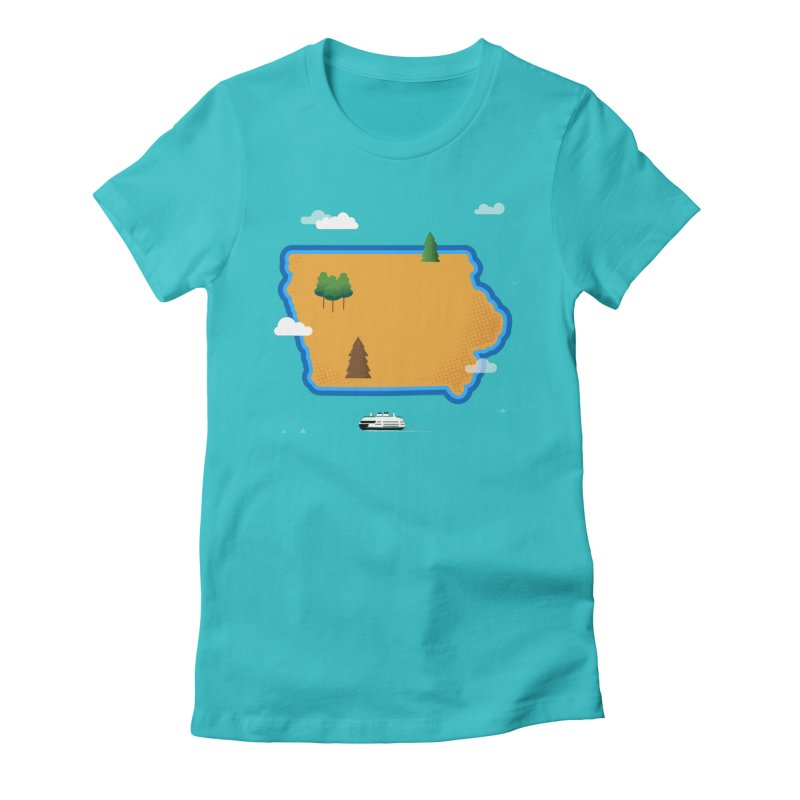Iowa Island Women's Fitted T-Shirt by Illustrations by Phil