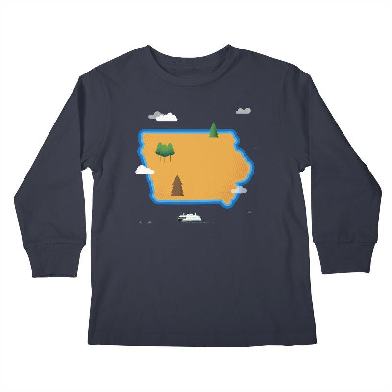 Iowa Island Kids Longsleeve T-Shirt by Illustrations by Phil