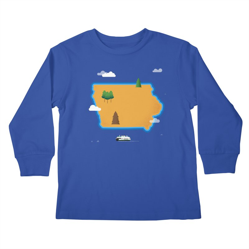Iowa Island Kids Longsleeve T-Shirt by Illustrations by Phil