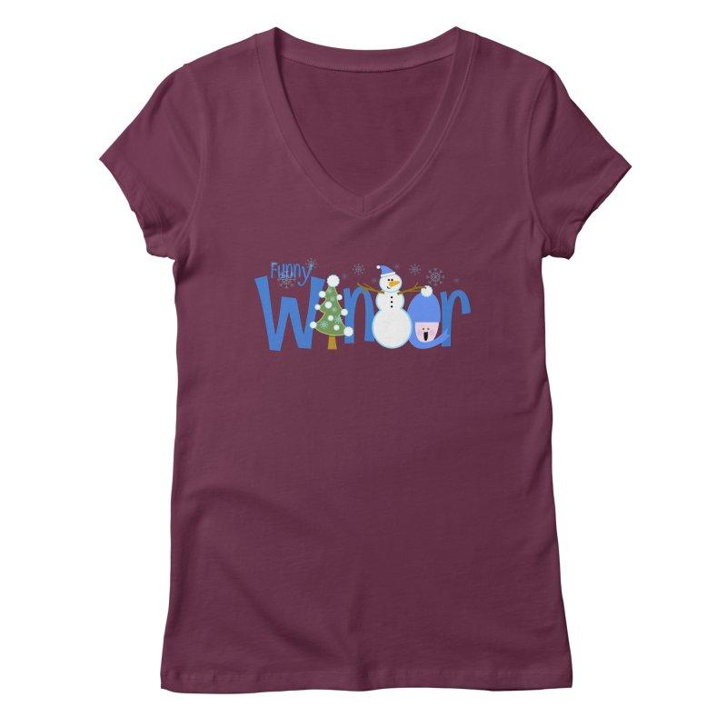 Funny Winter Women's V-Neck by PickaCS's Artist Shop