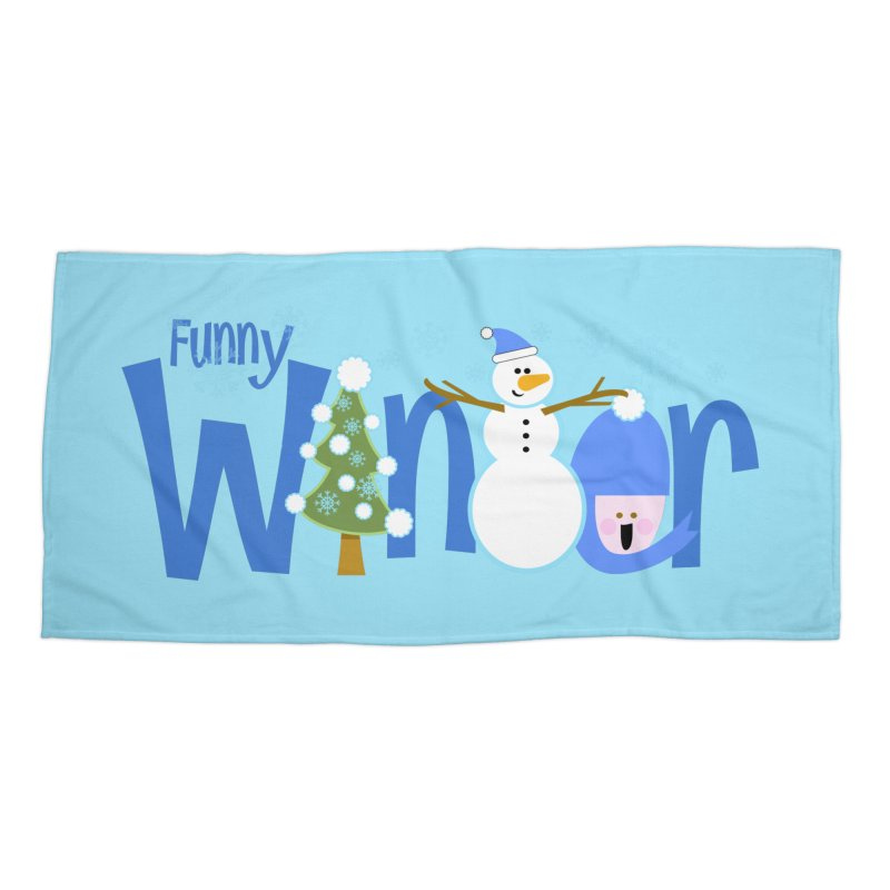 Funny Winter Accessories Beach Towel by PickaCS's Artist Shop