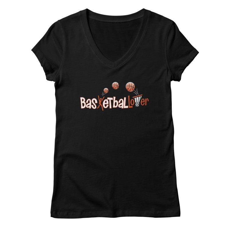 Basketball Lover Women's V-Neck by PickaCS's Artist Shop