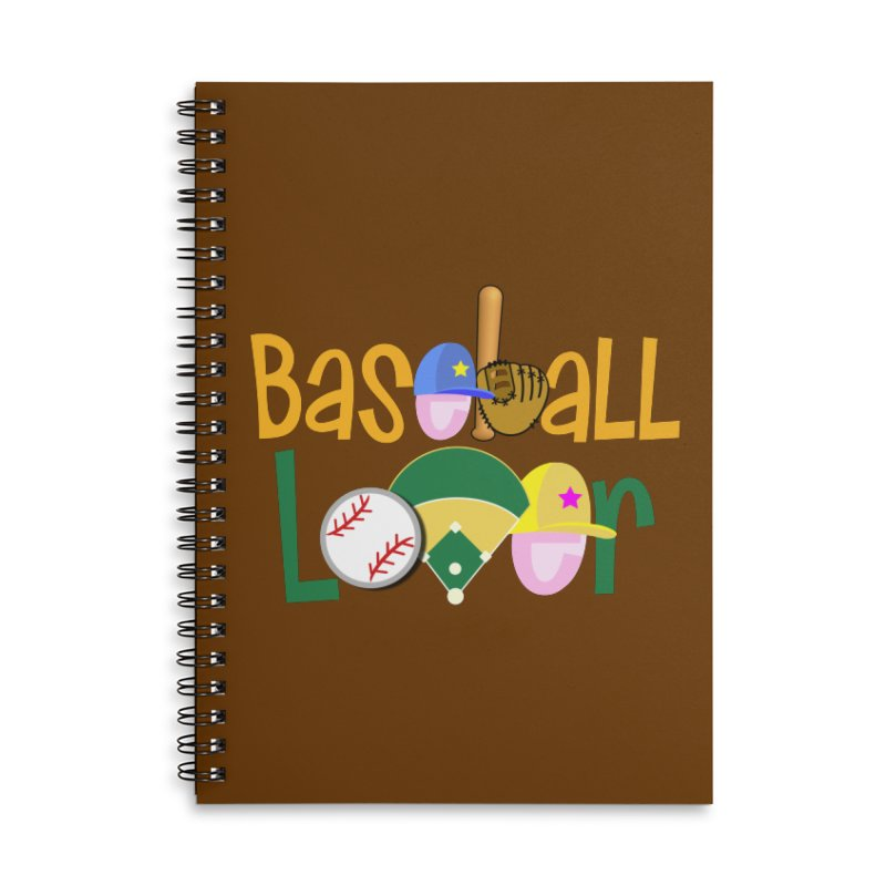 Baseball Lover Accessories Lined Spiral Notebook by PickaCS's Artist Shop