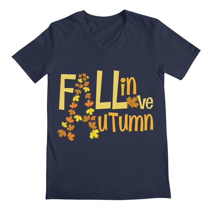 Fall in Autumn Men's Regular V-Neck by PickaCS's Artist Shop
