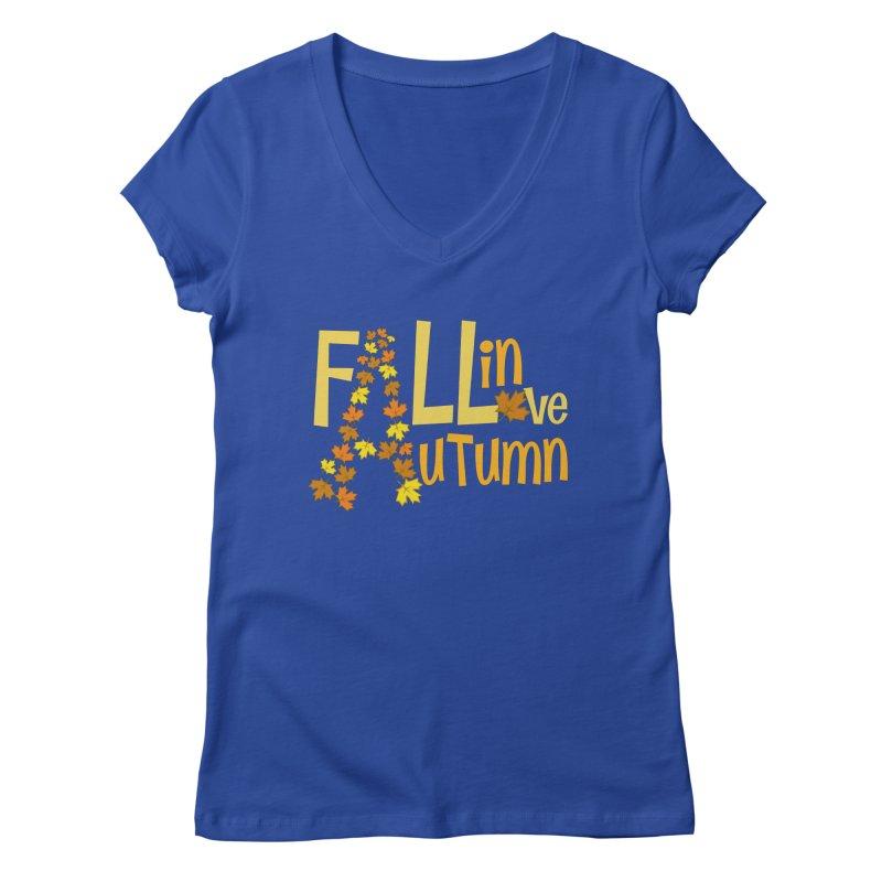 Fall in Autumn Women's Regular V-Neck by PickaCS's Artist Shop