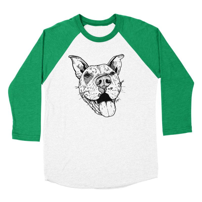 Pittie Smile Women's Baseball Triblend Longsleeve T-Shirt by Pittie Chicks