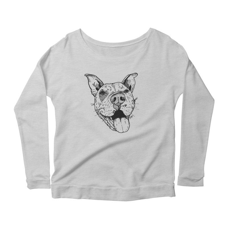 Pittie Smile Women's Scoop Neck Longsleeve T-Shirt by Pittie Chicks