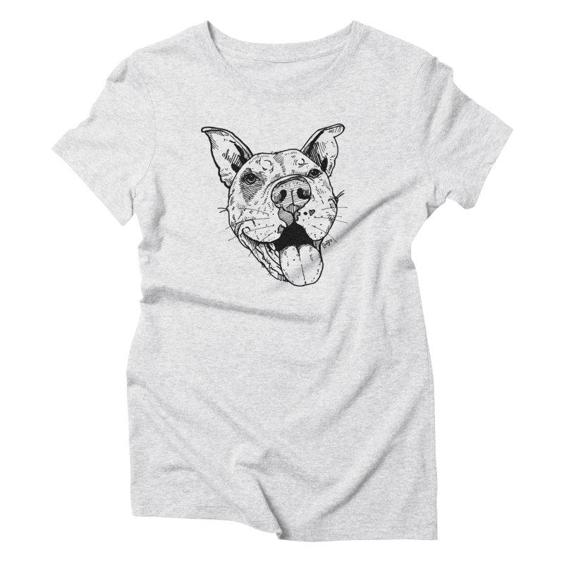 Pittie Smile Women's Triblend T-Shirt by Pittie Chicks