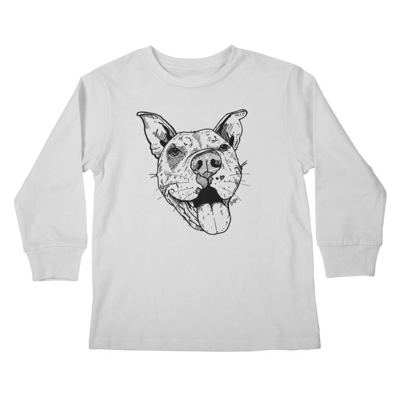 Pittie Smile Kids Longsleeve T-Shirt by Pittie Chicks