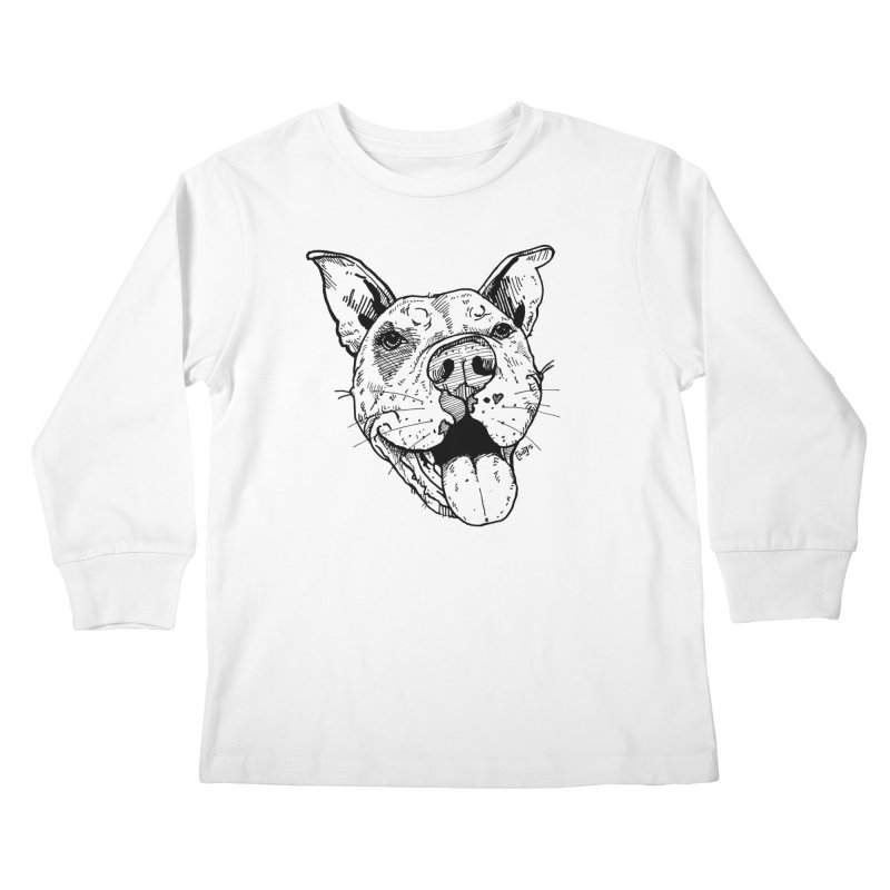 Pittie Smile Kids Longsleeve T-Shirt by Pittie Chicks