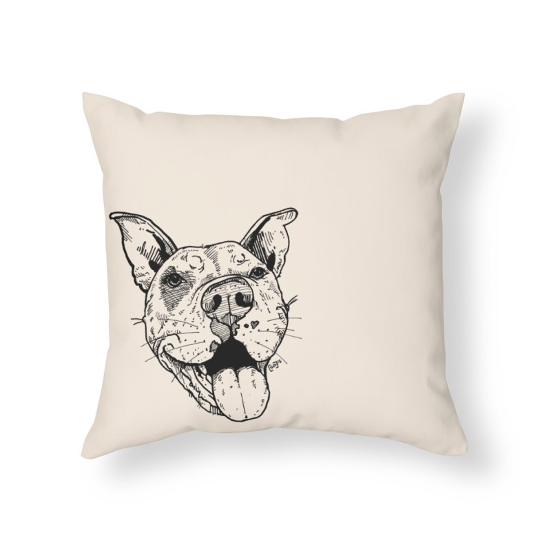 Pittie Smile Home Throw Pillow by Pittie Chicks
