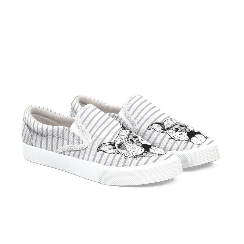Stripe Pittie Smile Shoes Women's Shoes by Pittie Chicks