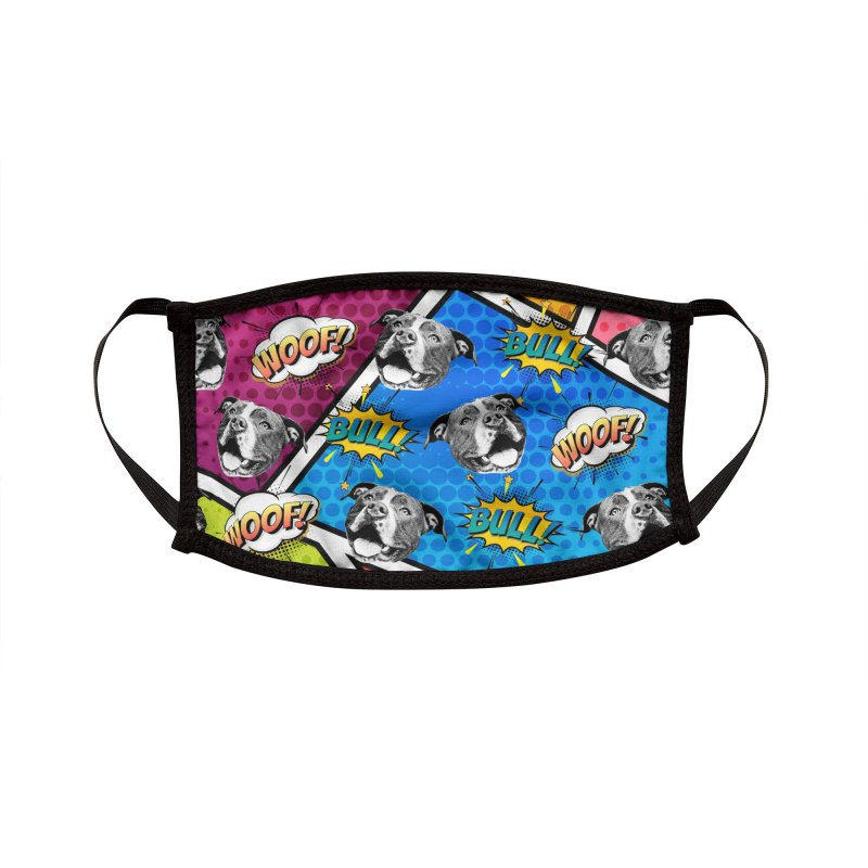 Beefy Bull Comic Book Face Mask Accessories Face Mask by Pittie Chicks