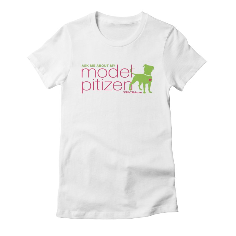 Model Pitizen - Pink Pit in Pearls Women's T-Shirt by Pittie Chicks