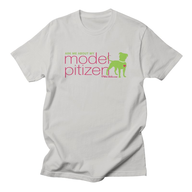 Model Pitizen - Pink Pit in Pearls Men's T-Shirt by Pittie Chicks