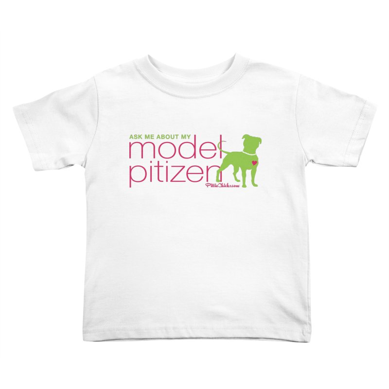 Model Pitizen - Pink Pit in Pearls Kids Toddler T-Shirt by Pittie Chicks