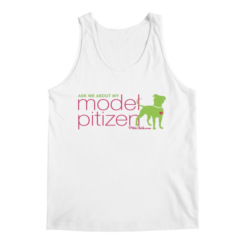 Model Pitizen - Pink Pit in Pearls Men's Tank by Pittie Chicks