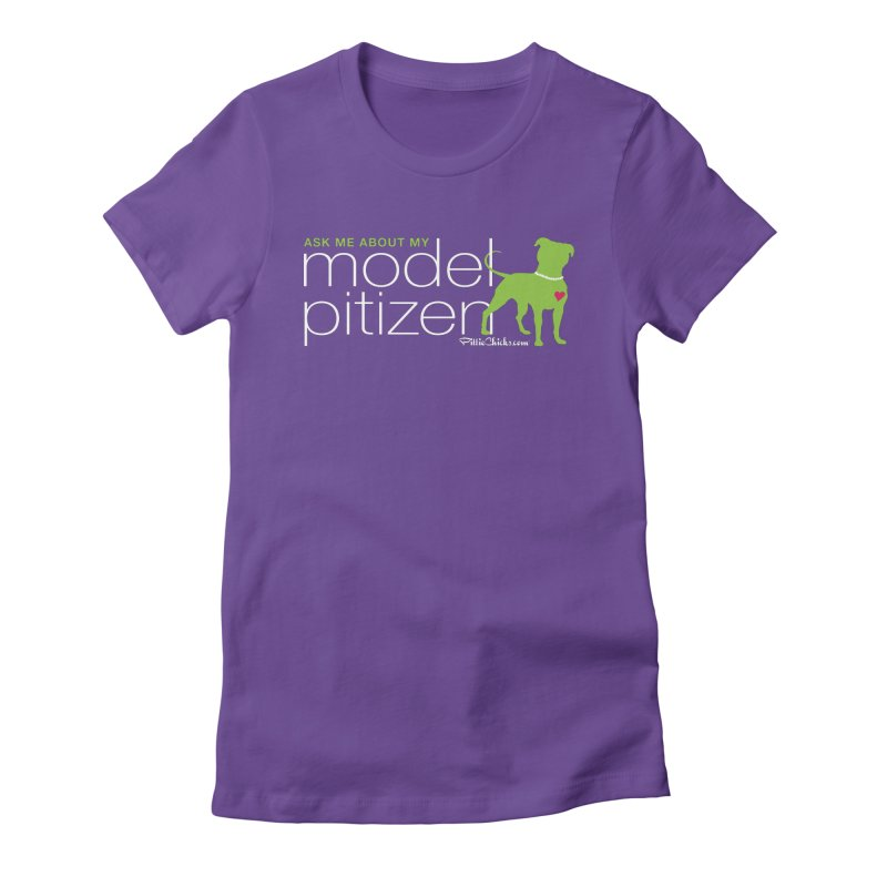 Model Pitizen - White Pit In Pearls Women's T-Shirt by Pittie Chicks