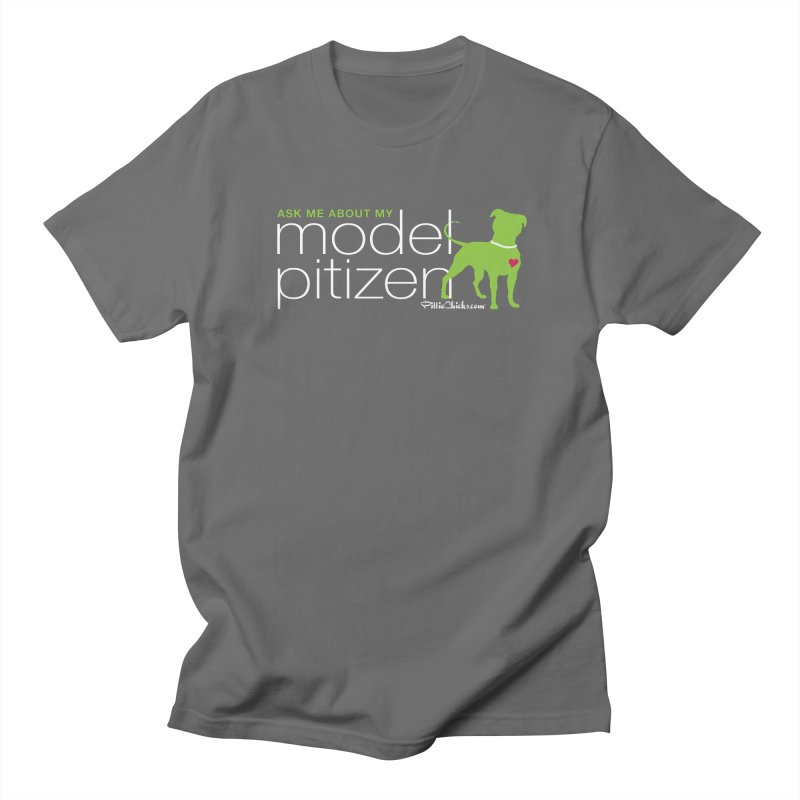 Model Pitizen - White Pit In Pearls Men's T-Shirt by Pittie Chicks