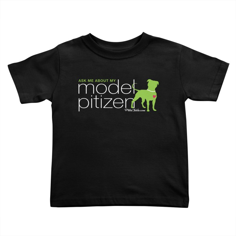 Model Pitizen - White Pit In Pearls Kids Toddler T-Shirt by Pittie Chicks
