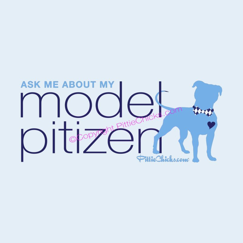 Model Pitizen - Blue Bow Tie Pit Bull Men's T-Shirt by Pittie Chicks