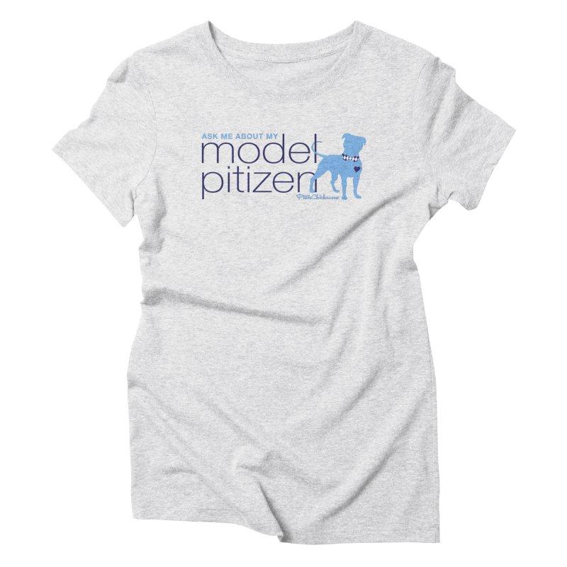 Model Pitizen - Blue Bow Tie Pit Bull Women's T-Shirt by Pittie Chicks