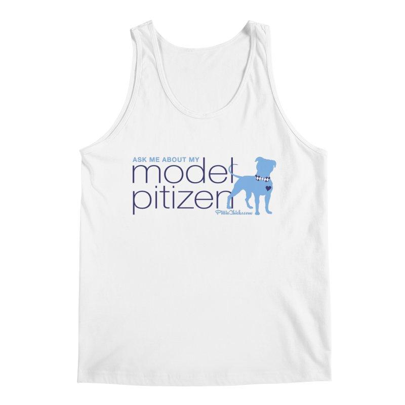 Model Pitizen - Blue Bow Tie Pit Bull Men's Tank by Pittie Chicks