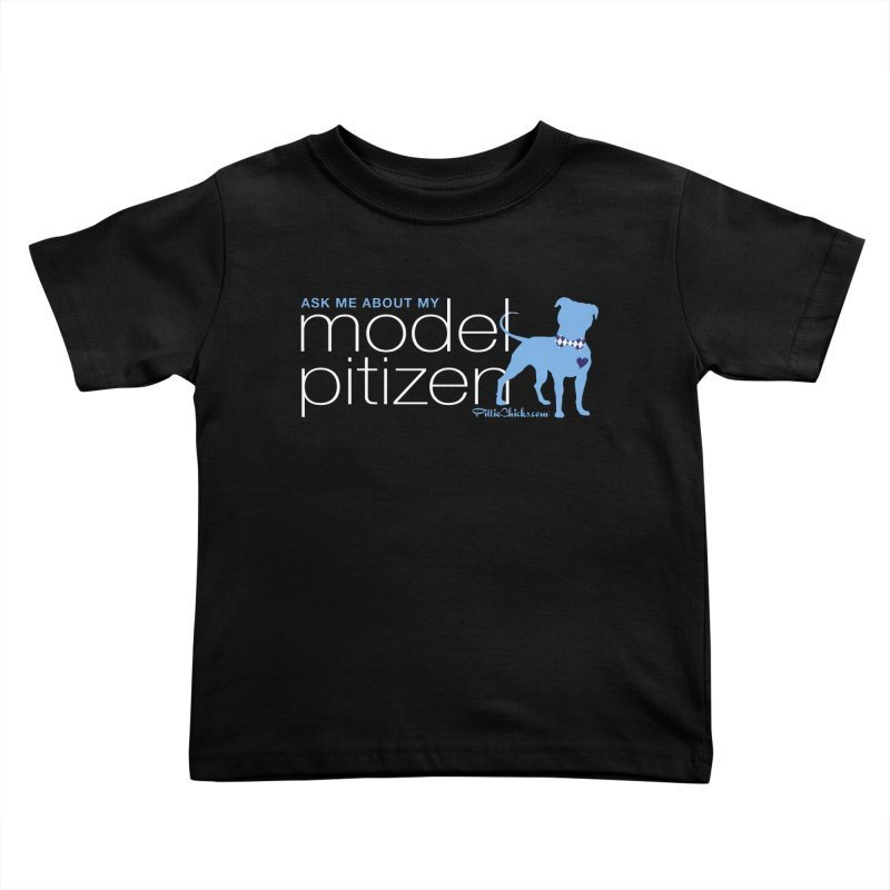 Model Pitizen - White Bow Tie Pit Bull Kids Toddler T-Shirt by Pittie Chicks