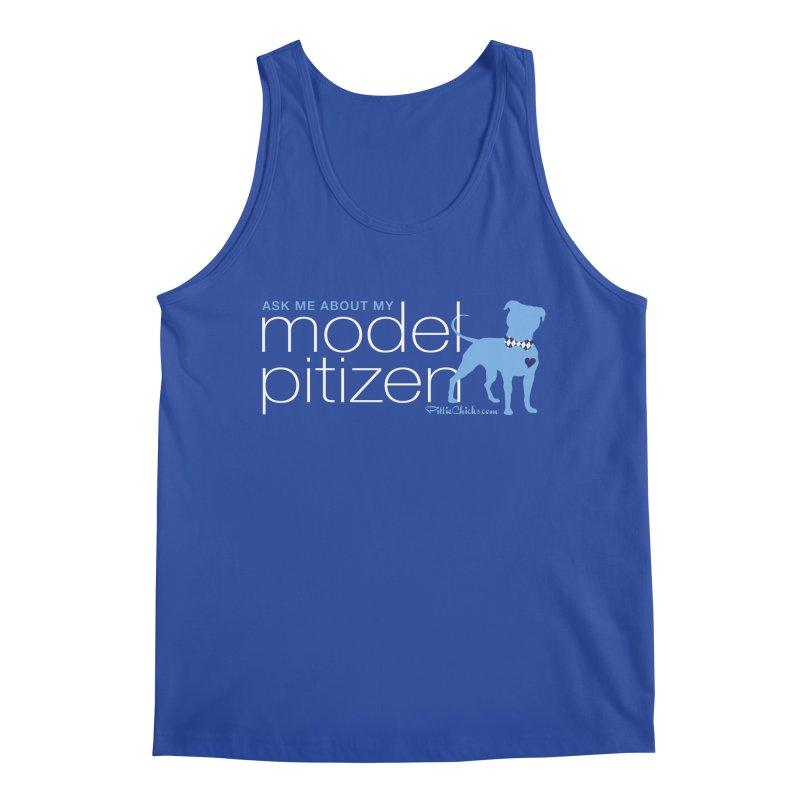 Model Pitizen - White Bow Tie Pit Bull Men's Tank by Pittie Chicks
