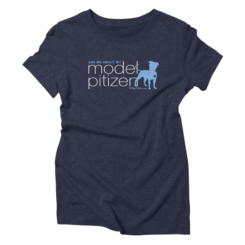 Model Pitizen - White Bow Tie Pit Bull Women's T-Shirt by Pittie Chicks