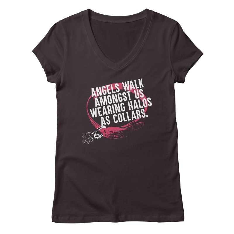 Dogs are Angels Women's Regular V-Neck by Pittie Chicks