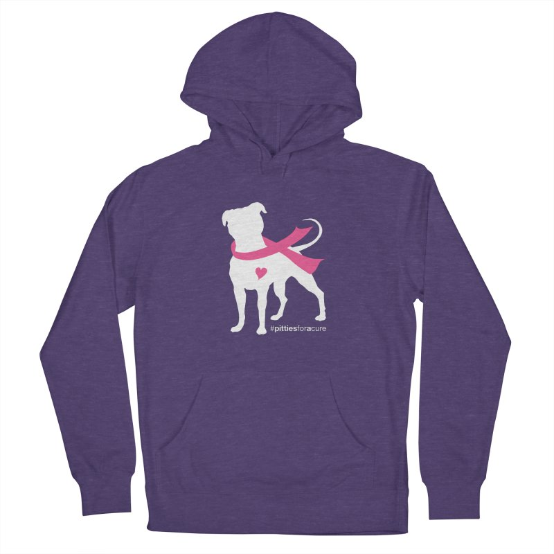 Pitties for a Cure - White Pittie Men's French Terry Pullover Hoody by Pittie Chicks