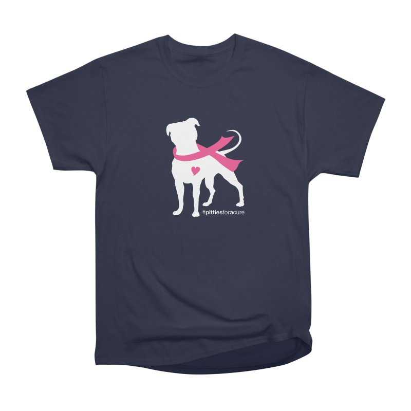 Pitties for a Cure - White Pittie Men's Heavyweight T-Shirt by Pittie Chicks