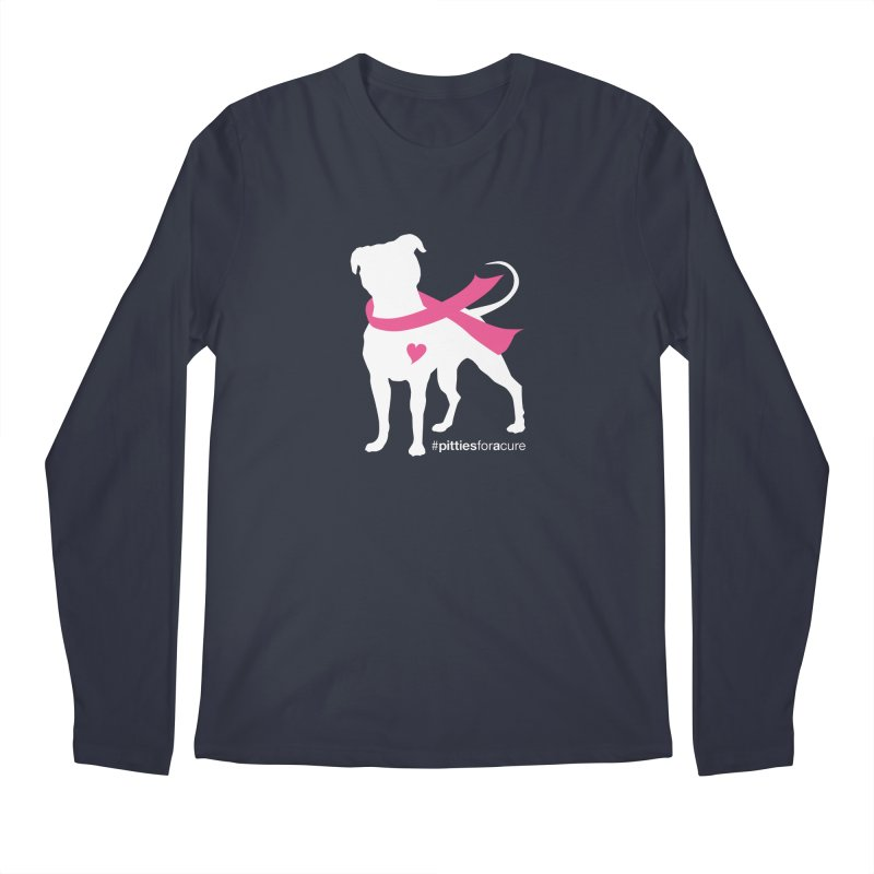 Pitties for a Cure - White Pittie Men's Regular Longsleeve T-Shirt by Pittie Chicks