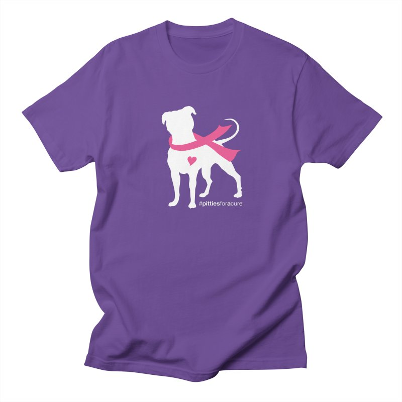 Pitties for a Cure - White Pittie Men's T-shirt by Pittie Chicks