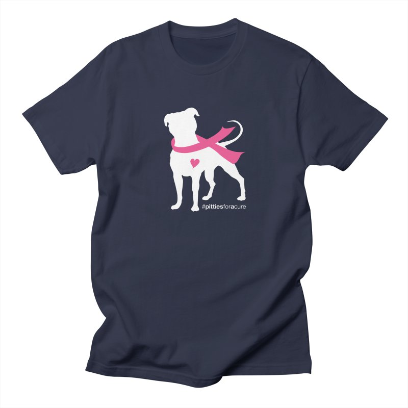 Pitties for a Cure - White Pittie Men's Regular T-Shirt by Pittie Chicks