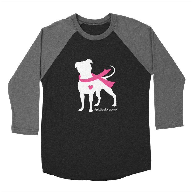 Pitties for a Cure - White Pittie Women's Baseball Triblend Longsleeve T-Shirt by Pittie Chicks