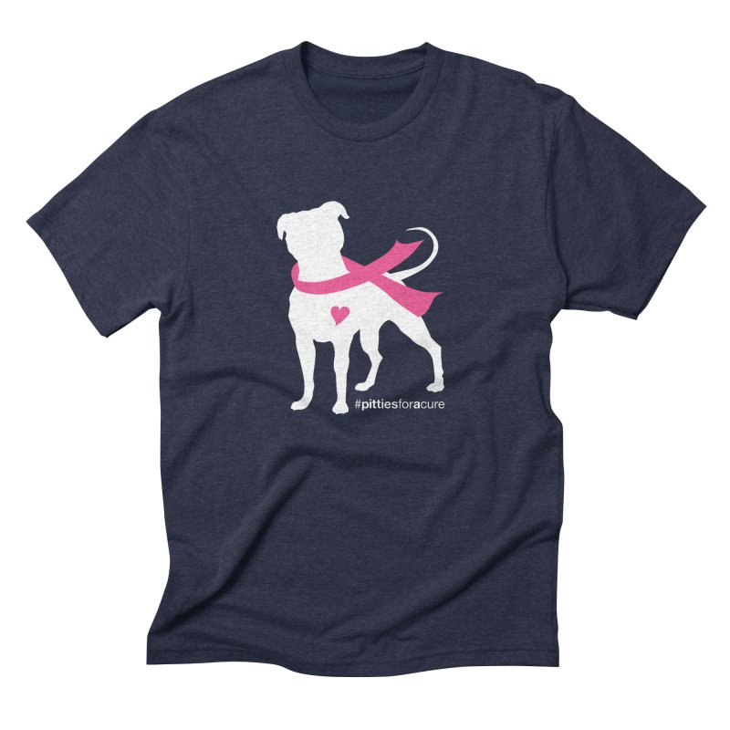 Pitties for a Cure - White Pittie Men's Triblend T-shirt by Pittie Chicks