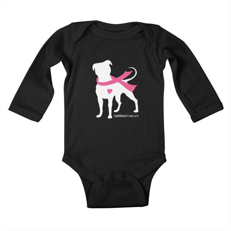 Pitties for a Cure - White Pittie Kids Baby Longsleeve Bodysuit by Pittie Chicks