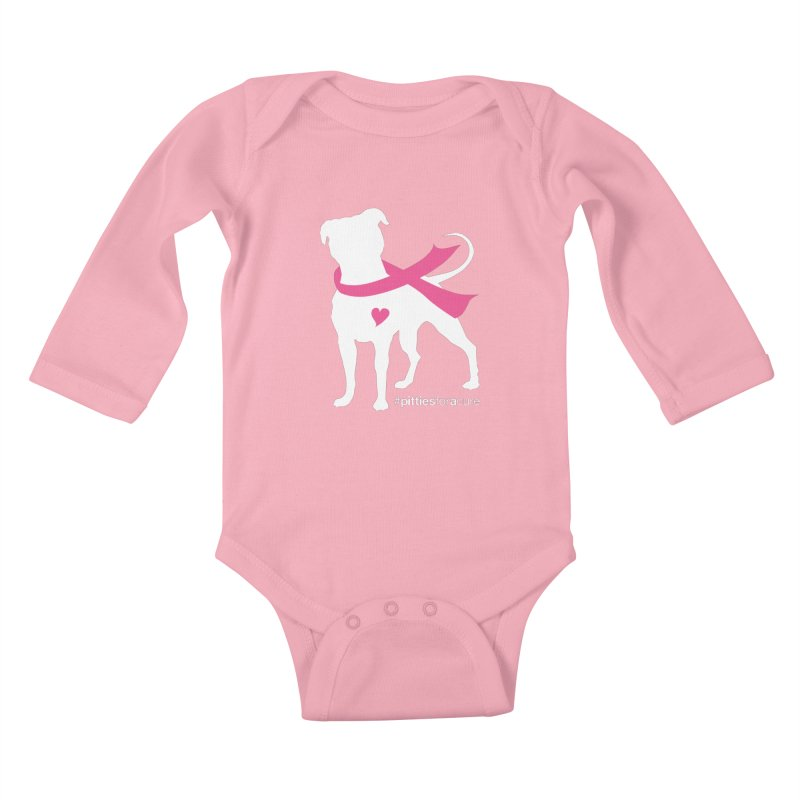 Pitties for a Cure - White Pittie Kids Baby Longsleeve Bodysuit by Pittie Chicks