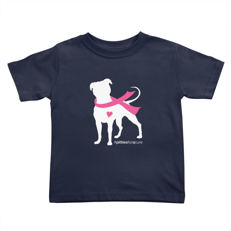 Pitties for a Cure - White Pittie Kids Toddler T-Shirt by Pittie Chicks