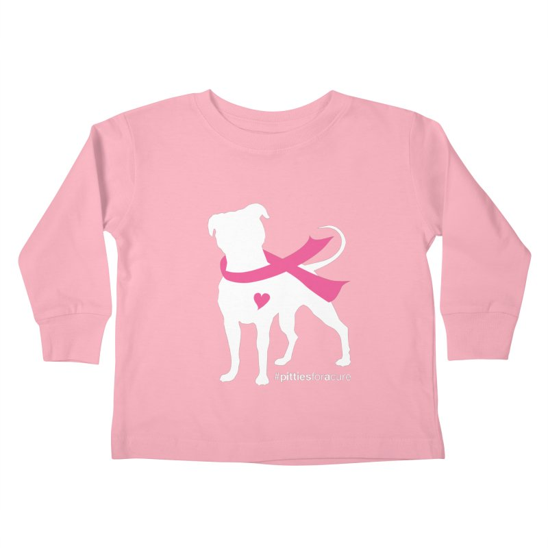 Pitties for a Cure - White Pittie Kids Toddler Longsleeve T-Shirt by Pittie Chicks