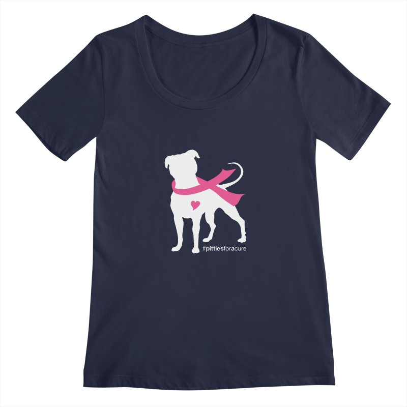Pitties for a Cure - White Pittie Women's Regular Scoop Neck by Pittie Chicks