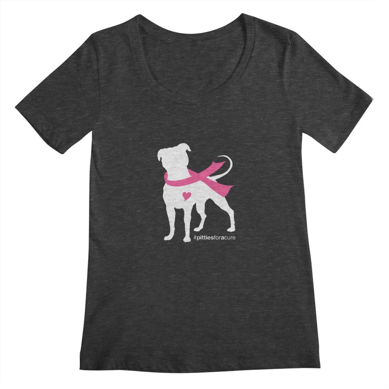 Pitties for a Cure - White Pittie Women's Scoopneck by Pittie Chicks