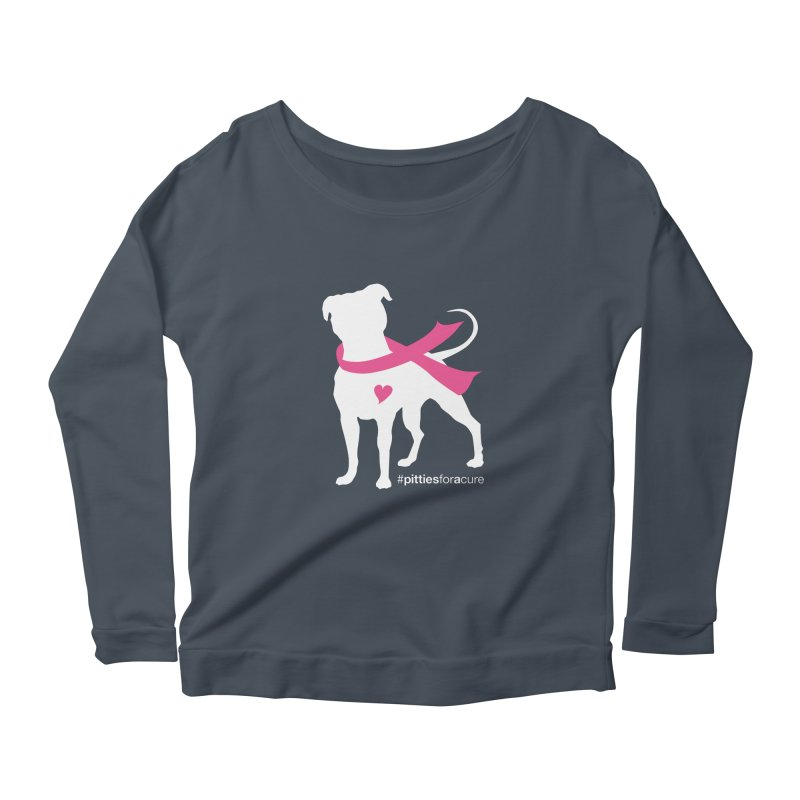Pitties for a Cure - White Pittie Women's Longsleeve Scoopneck  by Pittie Chicks