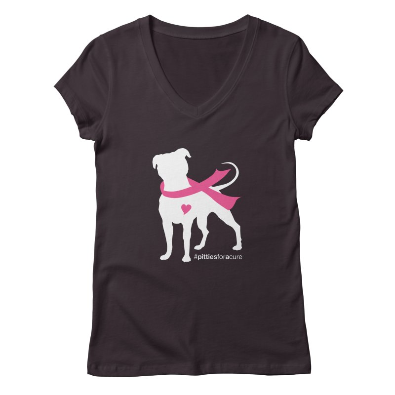 Pitties for a Cure - White Pittie Women's V-Neck by Pittie Chicks