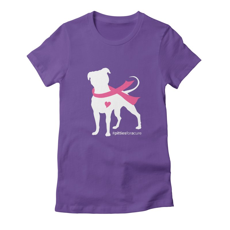 Pitties for a Cure - White Pittie Women's Fitted T-Shirt by Pittie Chicks