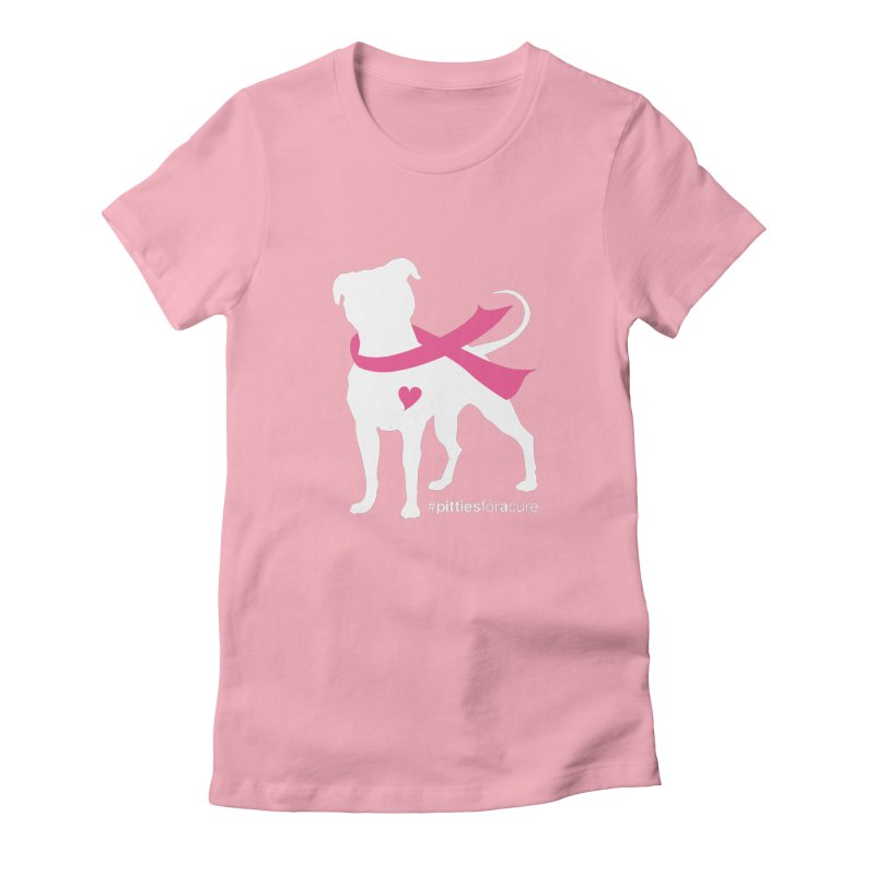 Pitties for a Cure - White Pittie in Women's Fitted T-Shirt Light Pink by Pittie Chicks