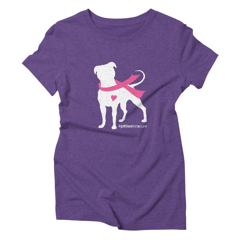 Pitties for a Cure - White Pittie Women's Triblend T-shirt by Pittie Chicks